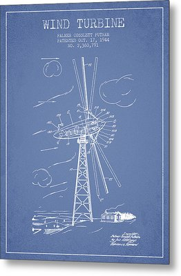 Wind Turbine Patent From 1944 - Light Blue Metal Print by Aged Pixel