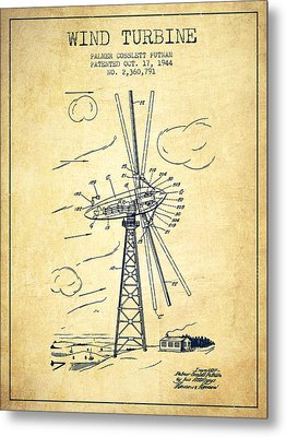 Wind Turbine Patent From 1944 - Vintage Metal Print by Aged Pixel