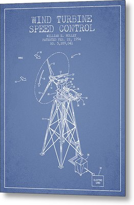 Wind Turbine Speed Control Patent From 1994 - Light Blue Metal Print by Aged Pixel