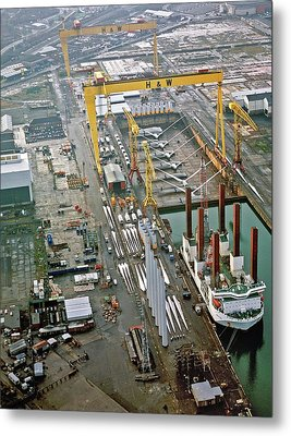 Wind Turbines Being Offloaded Metal Print by Harland & Wolff Heavy Indust./us Department Of Energy
