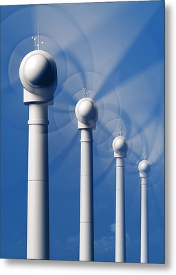 Wind Turbines In Motion From The Front Metal Print by Johan Swanepoel