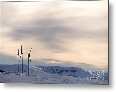 Wind Turbines In Winter Metal Print by Bernard Jaubert
