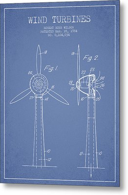 Wind Turbines Patent From 1984 - Light Blue Metal Print by Aged Pixel