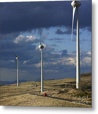 Wind Turbines. Region Auvergne. France Metal Print by Bernard Jaubert