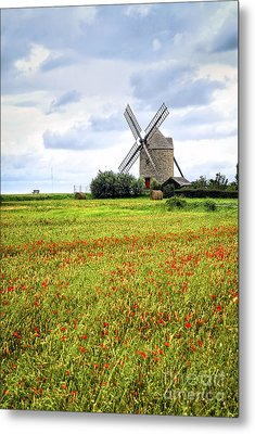 Windmill And Poppy Field In Brittany Metal Print by Elena Elisseeva