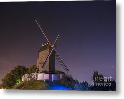 Windmill At Night Metal Print by Juli Scalzi