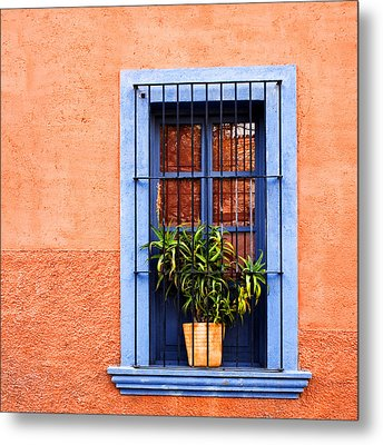 Window In San Miguel De Allende Mexico Square Metal Print by Carol Leigh