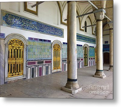 Window Of The Chamber Of The Holy Mantle In The Topkapi Palace Istanbul Turkey Metal Print by Ralph A  Ledergerber-Photography
