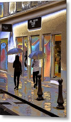 Window Shopping In The Rain Metal Print by Ben and Raisa Gertsberg