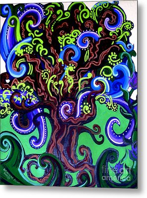 Windy Blue Green Tree Metal Print by Genevieve Esson