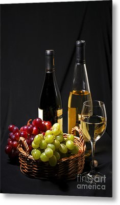 Wine And Grapes Metal Print by Elena Elisseeva