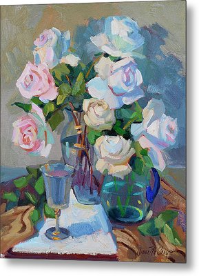 Wine And Roses Metal Print by Diane McClary