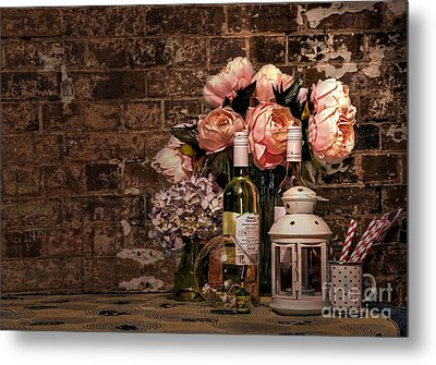 Wine And Roses Metal Print by Kaye Menner