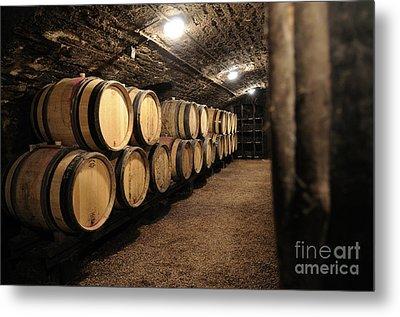 Wine Barrels In A Cellar. Cote D'or. Burgundy. France. Europe Metal Print by Bernard Jaubert