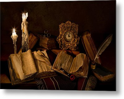 Wine Bottle Candles Books And Pipe Metal Print by Mary Tomaino