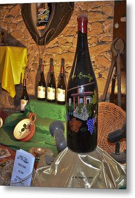 Wine Bottle On Display Metal Print by Allen Sheffield