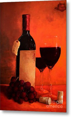 Wine Bottle - Wine Glasses - Red Grapes Vintage Style Art Metal Print by Patricia Awapara