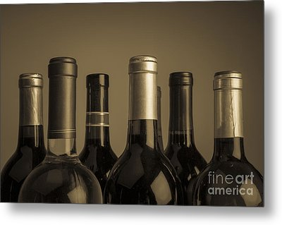 Wine Bottles Metal Print by Diane Diederich