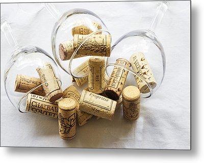 Wine Corks And Wine Glasses  Metal Print by Georgia Fowler