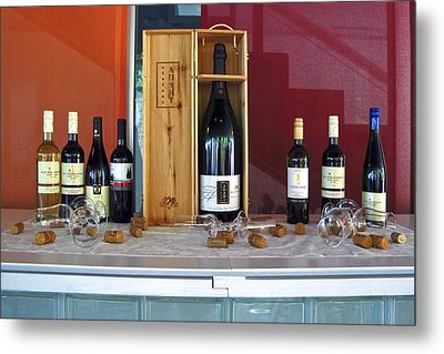 Wine Display Metal Print by Sally Weigand