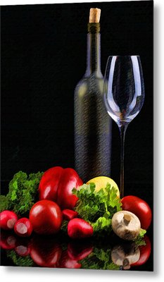 Wine For A Salad Metal Print by Elaine Plesser