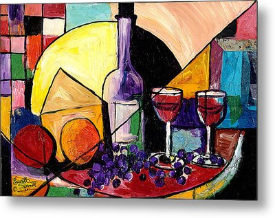 Wine Fruit And Cheese For Two Metal Print by Everett Spruill