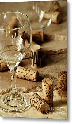 Wine Glass And Corks Metal Print by HD Connelly
