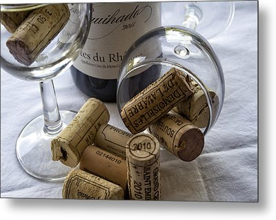 Wine Glasses And Corks  Metal Print by Georgia Fowler