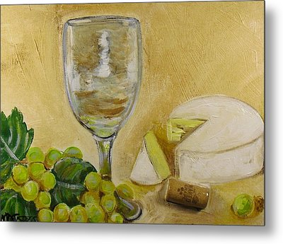 Wine Grapes And Cheese Metal Print by Melissa Torres