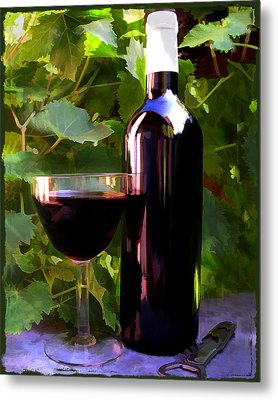 Wine In The Sunset Metal Print by Elaine Plesser