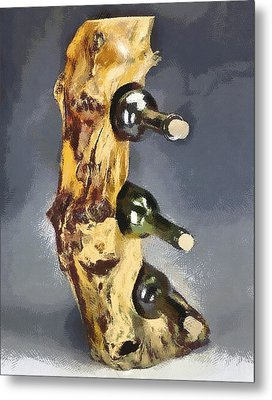 Wine Rack A Piece Of Wood Metal Print by Georgi Dimitrov