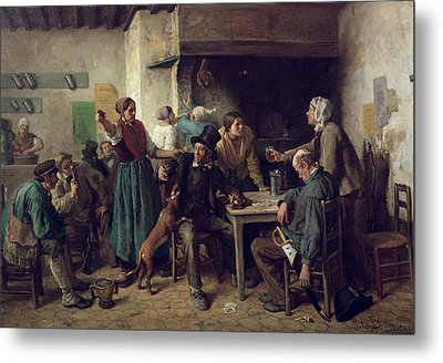 Wine Shop Monday, 1858 Oil On Canvas Metal Print by Jules Breton