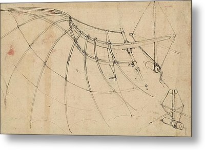 Wing Covered With Cloth And Moved By Means Of Crank Winch Below Right Detail Of Winch Metal Print by Leonardo Da Vinci