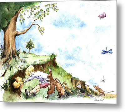 Helping Hands After E H Shepard Metal Print by Maria Hunt
