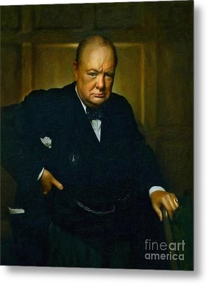 Winston Churchill Metal Print by Celestial Images