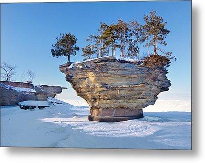 Winter At Port Austin's Turnip Rock Metal Print by Craig Sterken