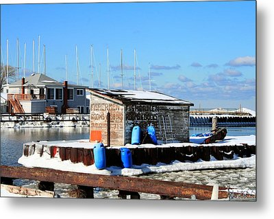 Winter At The Olcott Beach Fishing Shack Metal Print by Michael Allen