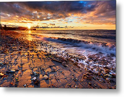 Winter Beach Sunset Metal Print by Alexis Birkill