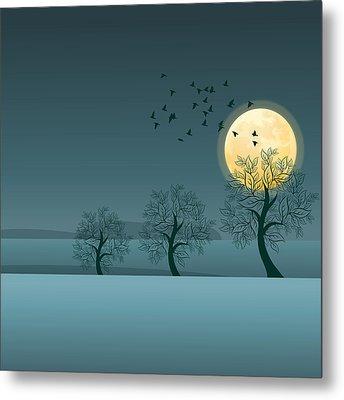 Winter Birds And Trees Metal Print by Nop Briex