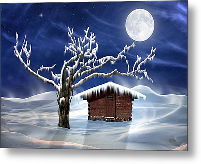Winter Cabin Metal Print by Nina Bradica