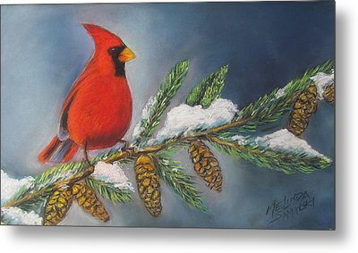 Winter Cardinal 2 Metal Print by Melinda Saminski