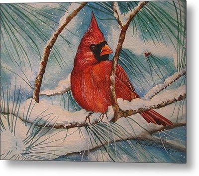 Winter Cardinal Metal Print by Cheryl Borchert