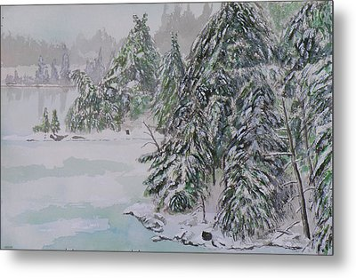 Winter Chill St Lawrence River Metal Print by Robert P Hedden