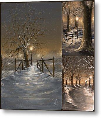 Winter Collage Metal Print by Veronica Minozzi