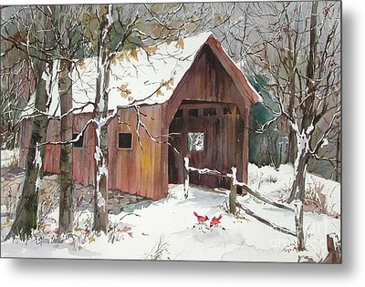 Winter Crossing Metal Print by Sherri Crabtree