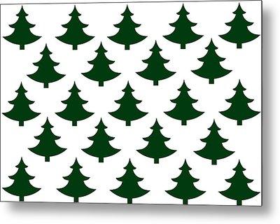 Winter Green Christmas Tree Metal Print by Chastity Hoff