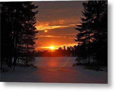 Winter Lake Sunset Metal Print by RJ Martens