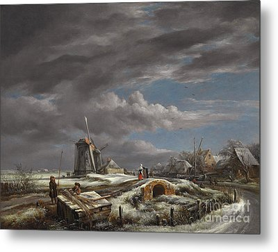 Winter Landscape With Figures On A Path Metal Print by John Constable