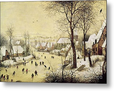 Winter Landscape With Skaters And A Bird Trap Metal Print by Pieter Bruegel the Elder