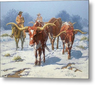 Winter Longhorns Metal Print by Randy Follis